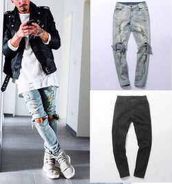 Destroyed Slim Jeans - affordable Cheap Clothes Jeans Mens Bottoms
