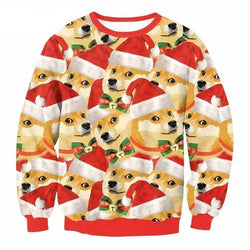Doggo Christmas Sweaters - Mens Longsleeves - Orange / L