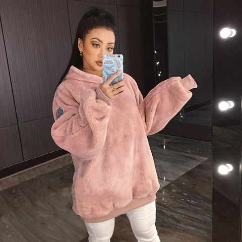 Ella Fur Hoodie - affordable Cheap Clothes Quality styles - Pink / L