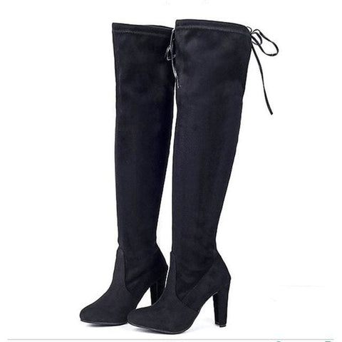 Elsie Fleece Lined High Knee Boots - affordable Cheap Clothes Heels Quality - black / 5