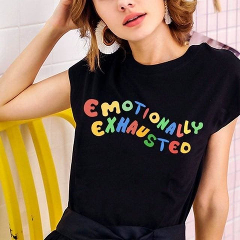 Emotionally Exhausted T-Shirts - affordable Cheap Clothes Quality styles - black / L