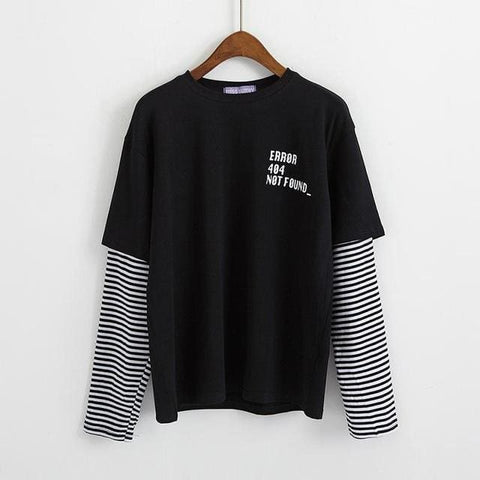 ERROR 404 Not Found Longsleeves - affordable Cheap Clothes Quality Streetwear Tops - Black / One Size