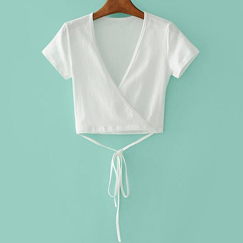 Evalina Wrap Tie Crop Tops - affordable Cheap Clothes Quality styles - white / One Size