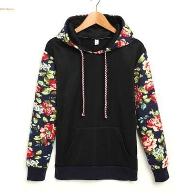 Floral Hoodies - affordable Cheap Clothes Hoodies Quality - Black / S