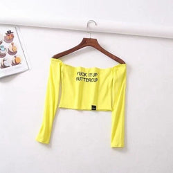 Fuck It Up Buttercup Long Sleeve Crop Tops - Longsleeves
