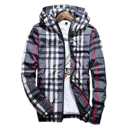 Gray Striped Windbreakers - Mens Hoodies - Gray / M
