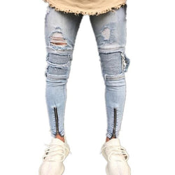 Grey Zippered Jogger Jeans - affordable Cheap Clothes Quality Streetwear Bottoms - Grey / S