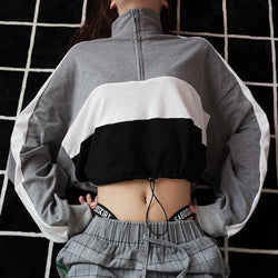 Half Zip Color Block Cropped Sweater - affordable Cheap Clothes Crop Tops Quality