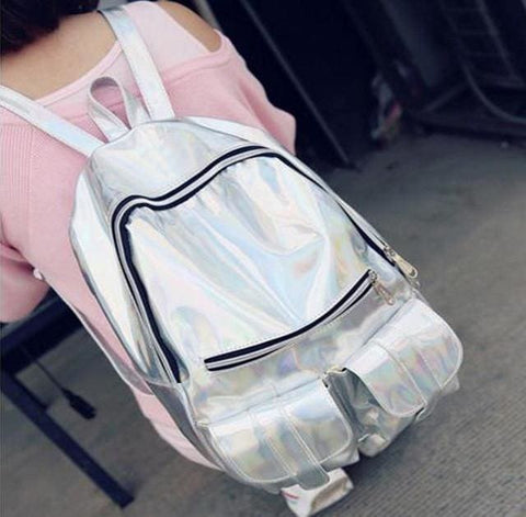 Holographic Backpacks - affordable Backpacks Cheap Clothes Quality - Big Silver