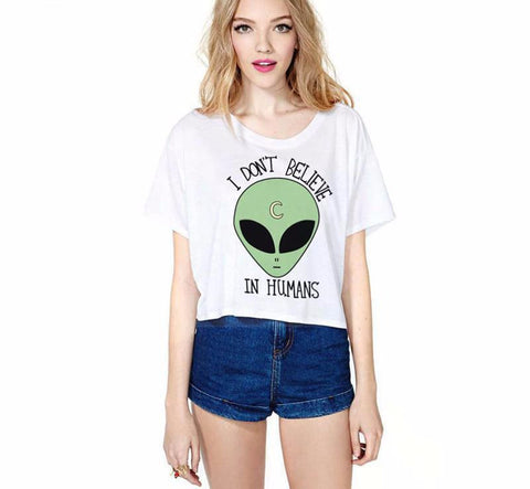 I Dont Believe In Humans Crop Top - affordable Cheap Clothes Crop Tops Quality
