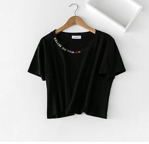 I Will Do Better Crop Tops - affordable Cheap Clothes Quality styles - Black / One Size