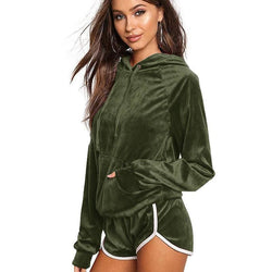 Isabella Velvet Tracksuits - affordable Cheap Clothes Quality styles - Army Green / L