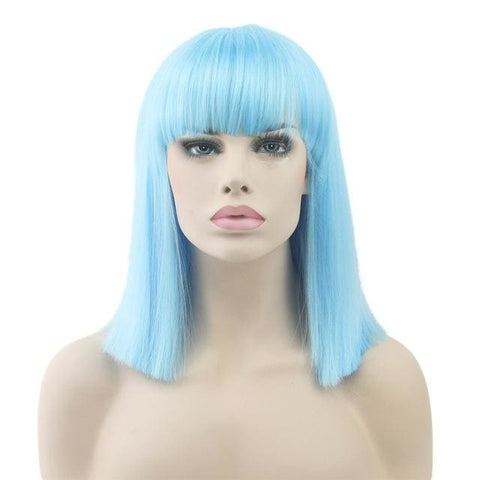 Jhene Synthetic Wigs - affordable Cheap Clothes Quality Short Length - Sky Blue / 16inches