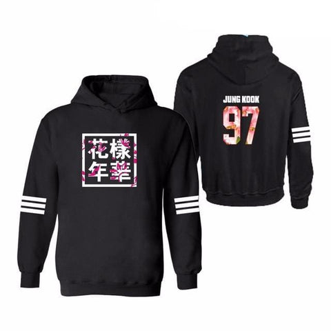 JUNG KOOK Hoodies + Plus Sizes - affordable BTS Cheap Clothes Quality - black 3 / S