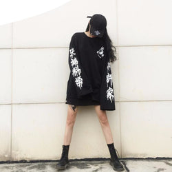 Kanji Oversized Longsleeves - affordable Cheap Clothes Quality Streetwear Tops