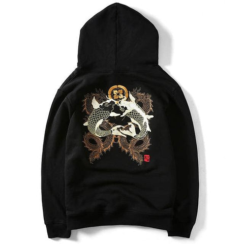 Koi Dragons Embroidered Hoodies - affordable Cheap Clothes Quality Streetwear Tops - black / XS