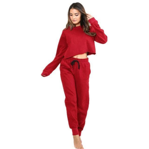 Lara Tracksuit - affordable Cheap Clothes Crop Tops Longsleeves - Red / S