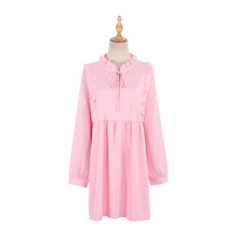 Lily Ruffle Dress - affordable Cheap Clothes Quality styles - Pink / One Size