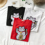 Lucky Cat Embroidered Shirts - affordable Cheap Clothes Quality styles