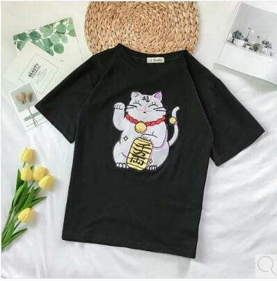 Lucky Cat Embroidered Shirts - affordable Cheap Clothes Quality styles - Black / One Size