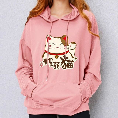 Lucky Cat Hoodies - affordable Cheap Clothes Quality styles - Pink / S