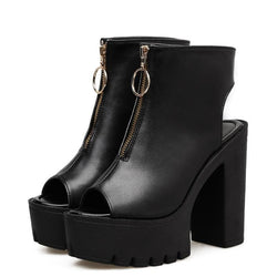 Maira Zip Up Chunky Heels - affordable Cheap Clothes Heels Quality