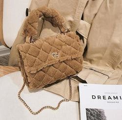 < MARIBELLA > Quilted Faux Fur Bags - Purses