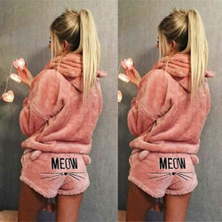 Meow Plush Hoodie+Shorts Pajama Set - affordable Cheap Clothes Quality styles - Pink / S