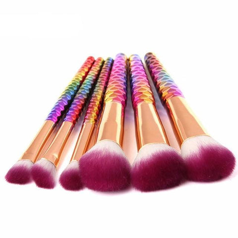 Mermaid Makeup Brushes - 6 Pcs - affordable Cheap Clothes Quality styles