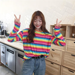 Mika Rainbow Longsleeves - affordable Cheap Clothes Quality styles