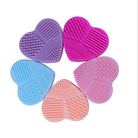 Mini Silicone Heart Shape Brush Cleaner Pad - affordable Cheap Clothes Quality styles