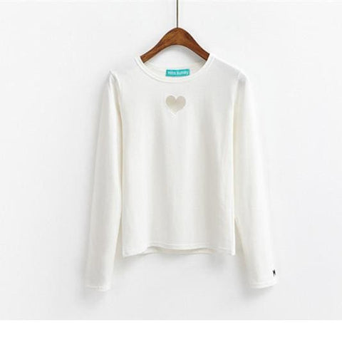 Mira Heart Longsleeves - affordable Cheap Clothes Quality styles - White / One Size