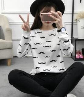 Mustache Sweater - affordable Cheap Clothes Longsleeves Quality - 1 / S