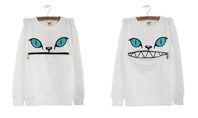 Neko Zipper Hoodies - affordable Cheap Clothes Quality Streetwear Tops - White / M