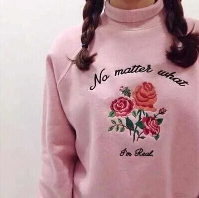 No Matter What Im Real Sweater - affordable Cheap Clothes Longsleeves Quality - Pink / L