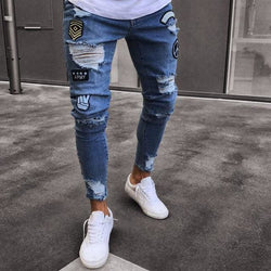 Patch Distressed Blue Jeans - affordable Cheap Clothes Quality Streetwear Bottoms - Blue / L