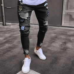 Patch Distressed Dark Gray Jeans - affordable Cheap Clothes Quality Streetwear Bottoms - Gray / L