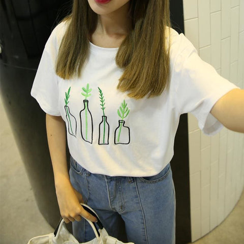 Plants Embroidered Oversized Shirts - affordable Cheap Clothes Quality styles