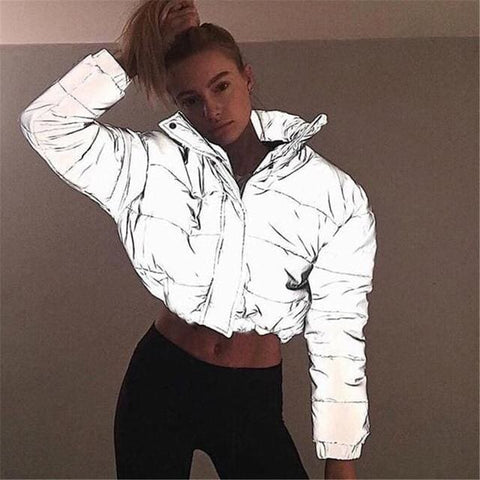 Reflective Bomber Jacket - Longsleeves - Silver / L