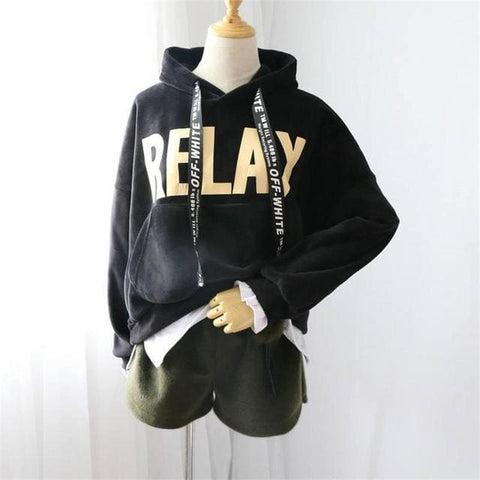 RELAX Hoodies - affordable Cheap Clothes Quality Streetwear Tops - Black / One Size
