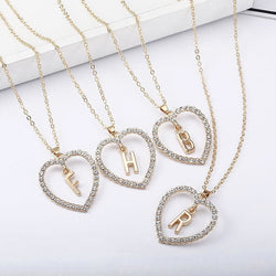 Rhinestone Initial Letter Love Pendant Necklaces - affordable Cheap Clothes Quality styles