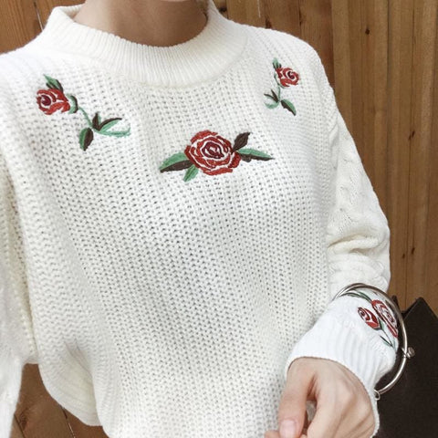 Rose Embroidered Sweater - affordable Cheap Clothes Quality styles