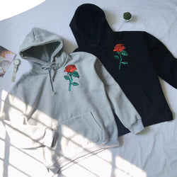 Rose Embroidery Hoodies - affordable Cheap Clothes Hoodies Quality