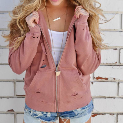 Ryleene Distressed Hoodies - affordable Cheap Clothes Quality styles