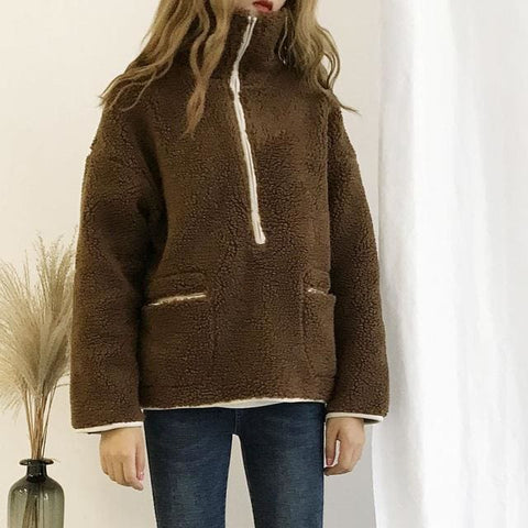 Sherpa Half Zip Sweaters - affordable Cheap Clothes Quality styles - Brown / One Size
