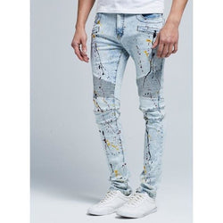 Skinny Biker Jeans - affordable B.A.P Cheap Clothes Mens Bottoms - Light Blue / 30