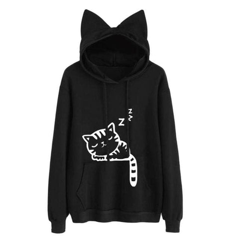 Sleeping Kitty Hoodies - affordable Cheap Clothes Quality styles - black / S