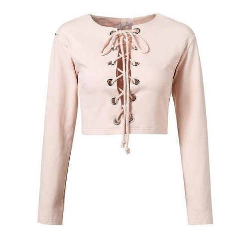 Sophia Lace Up Crop Tops - affordable Cheap Clothes Quality styles - pink / S