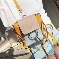 Stormi Faux Leather Contrast Backpacks - affordable Cheap Clothes Quality styles - Yellow / 16cm20cm10cm