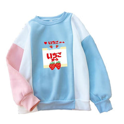 Strawberry Milk Color Block Sweatshirts - affordable Cheap Clothes Quality styles